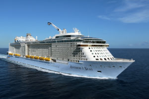 AN, Anthem of the Seas, Come Seek shoot Dec 2015 in Bahamas, aerials, at sea, ship exterior, 3/4 view starboard side, forward, front, ocean
